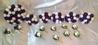 WEDDING PACKAGE-ARTIFICIAL FLOWERS PURPLE/WHITE FOAM ROSE BRIDES BOUQUET